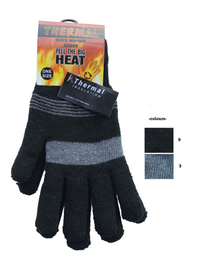 Thermal knitted brushed inside gloves